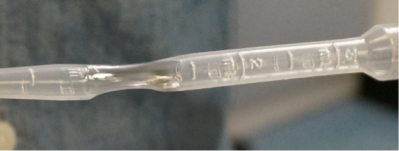 When the heat is applied, the pipette get transparent and soft (photo courtesy of Emily Williams)